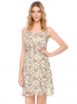 Apricot Adjustable Spaghetti Straps Elastic Waist Prints Dress