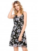 Black Adjustable Spaghetti Straps Elastic Waist Prints Dress