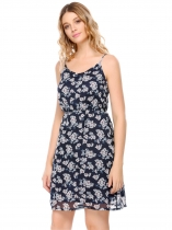Dark blue Adjustable Spaghetti Straps Elastic Waist Prints Dress