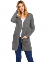 Gray Long Sleeve Solid Open Front Cardigan