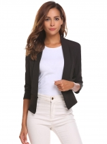 Black Women Solid Slim Long Sleeve Short Single Button Blazer Jacket Outwear