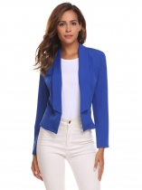 Royal Blue Women Solid Slim Long Sleeve Short Single Button Blazer Jacket Outwear