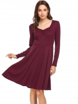 Wine red Women V-Neck Long Sleeve Ruched Swing Hem Solid Dress