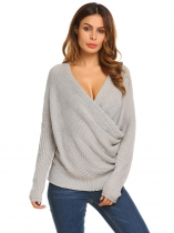 Gris Gris Femmes Casual Long Sleeve Solid Loose Wrap Front V Neck Câble Tricot Pullover Sweater
