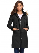 Black Removable Hooded Thickened Warm Winter Parka Jacket