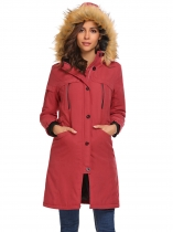 Wine red Removable Hooded Thickened Warm Winter Parka Jacket