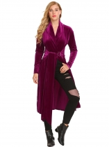 Rose Purple Women Casual Wrap Split V Neck Long Sleeve Lace Up Waist Velvet Jacket