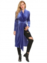 Royal Blue Women Casual Wrap Split V Neck Long Sleeve Lace Up Waist Velvet Jacket