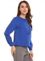Royal Blue Women O-Neck Long Sleeve Solid Pleated Placket Casual OL Blouse Top