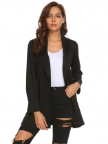 Black Women Lapel Roll Up Sleeve Solid Casual Open Front Trench Coat Cardigan