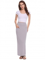 Light gray Women Fashion Pull-On Strench High Elastic Waist Solid Pencil Slim Skirt