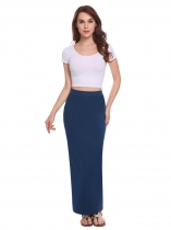 Blue Femmes Mode Pull On Strench Haute Taille Élastique Solide Crayon Jupe Slim