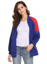 Dark blue Women Casual Stand Collar Long Sleeve Zipper Pocket Thread Hem Cuffs Baseball Jacket