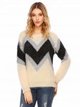 Black Apricot O-Neck Long Sleeve Patchwork Warm Sweater