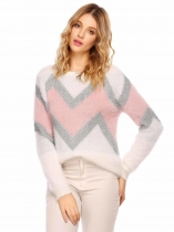 White red O-Neck Long Sleeve Patchwork Warm Sweater