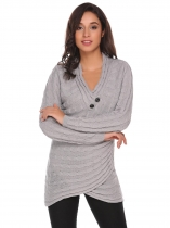Grey V-Neck Long Sleeve Button Solid Front Cross Pullover Sweater