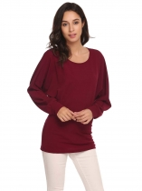 Wine red Women Casual O-Neck Batwing Long Sleeve Waist Sexy Blouse T-shirt