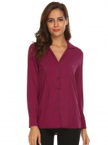 Purple Red Women V-Neck Cuffed Long Sleeve Casual Chiffon Button Blouse Shirts