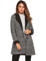 Schwarz Frauen Winter Mode Revers Langarm Plaid Classic Wolle Blend Peacoat