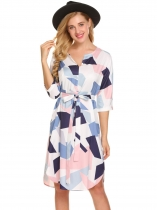 Light blue Women 3/4 Sleeve Geometric Pattern Belted A-Line Short Dress
