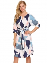Blue Women 3/4 Sleeve Geometric Pattern Belted A-Line Short Dress