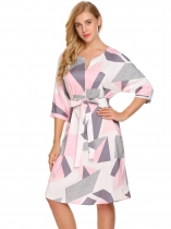 Gray Pink Women 3/4 Sleeve Geometric Pattern Belted A-Line Short Dress