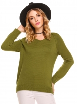 Army green V-Neck Long Sleeve Solid Loose Knit Pullover Sweater