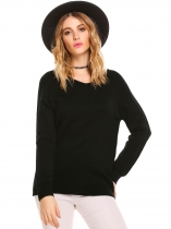 Black V-Neck Long Sleeve Solid Loose Knit Pullover Sweater
