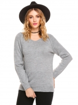 Gray V-Neck Long Sleeve Solid Loose Knit Pullover Sweater