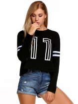 Black Women Casual Long Sleeve Print Pullover Short Sweatshirt