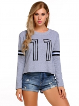 Gray Women Casual Long Sleeve Print Pullover Short Sweatshirt