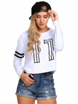 White Women Casual Long Sleeve Print Pullover Short Sweatshirt