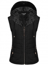 Black Sleeveless Removable Hat Quilted Zipper Closure Lightweight Vest