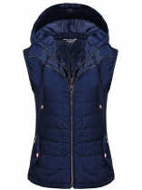 Dark blue Sleeveless Removable Hat Quilted Zipper Closure Lightweight Vest