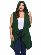 Army green Plus Size Hooded Sleeveless Draped Wrap Belted Vest