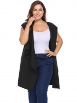 Black Plus Size Hooded Sleeveless Draped Wrap Belted Vest