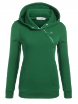 Army green Women Long Sleeve Pullover Casual Hooded Solid Fleece Hoodie