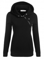 Black Women Long Sleeve Pullover Casual Hooded Solid Fleece Hoodie