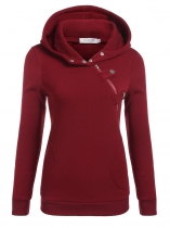 Wine red Women Long Sleeve Pullover Casual Hooded Solid Fleece Hoodie