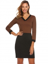 Dark brown Mujeres Moda V cuello de manga larga sólido Bodycon Slim Pencil Dress