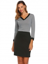 Light gray Women Fashion V-Neck Long Sleeve Solid Bodycon Slim Pencil Dress
