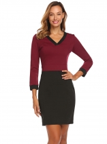 Rojo de vino Mujeres Moda V cuello manga larga sólido Bodycon Slim Pencil Dress