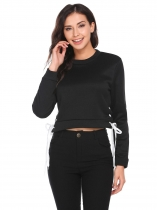 Black Long Sleeve Solid Pullover O-Neck Sweatshirt