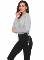 Grey Long Sleeve Solid Pullover O-Neck Sweatshirt