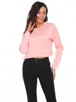 Pink Long Sleeve Solid Pullover O-Neck Sweatshirt