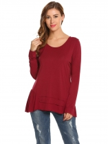 Wine red Frauen Casual Oansatz Langarm Solide Asymmetrische Saum Regular Fit Sexy Bluse T shirt Tops