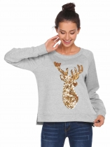 Light gray Animal Pattern Sequins Thread Hem Split Sweatshirts