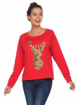 Red Animal Pattern Sequins Thread Hem Split Sweatshirts