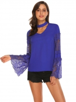 Royal Blue Mulheres Casual Choker V Neck Lace Patchwork Chiffon Loose Top Blouse