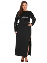 Black Women's Long Sleeve Backless Sequined Split Evening Party Maxi Dress Plus Size